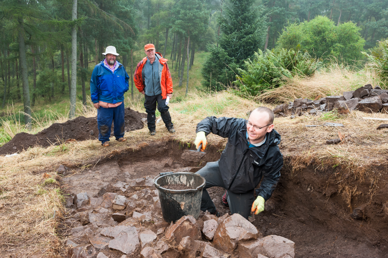 Vinny Crump working at archaeological dig at Moncreiffe Hill, Perth, Scotland