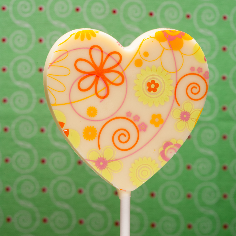 Spring white chocolate lollipop, Carlotta's Chocolates