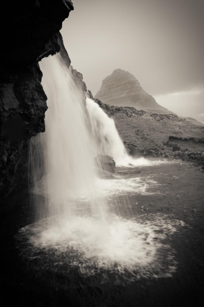 Waterfalls near Grundarfjorthur, with Kirkjufell, Iceland