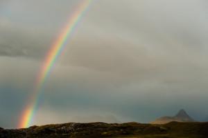 Stac Pollaidh and rainbow, Sutherland, Scotland