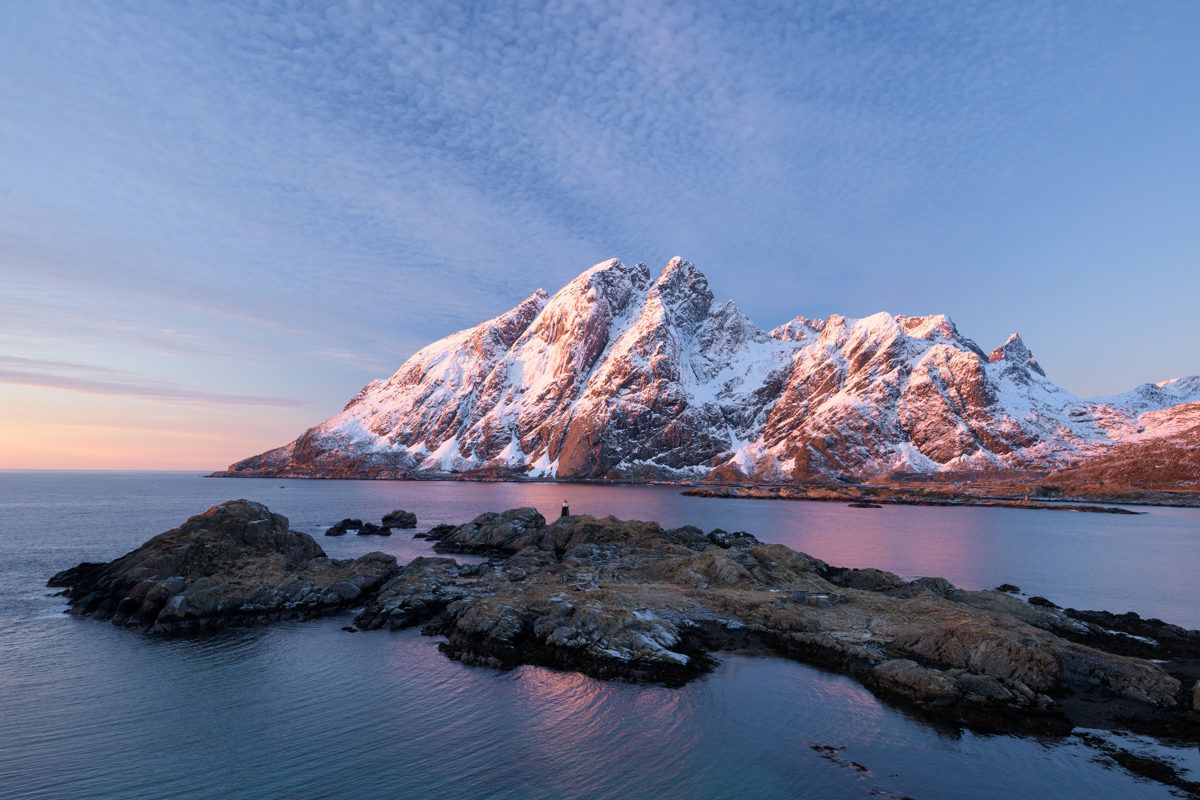 Mountains and Grimsholmen, Lofoten, Norway