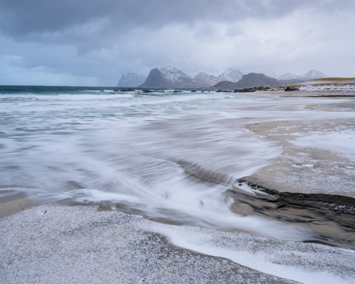 Beach at S Sandnes, Lofoten during storm