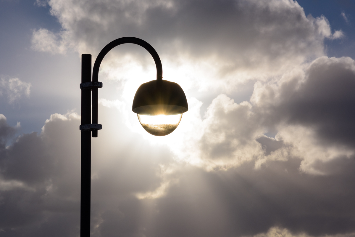 Backlit street lamp, Iceland