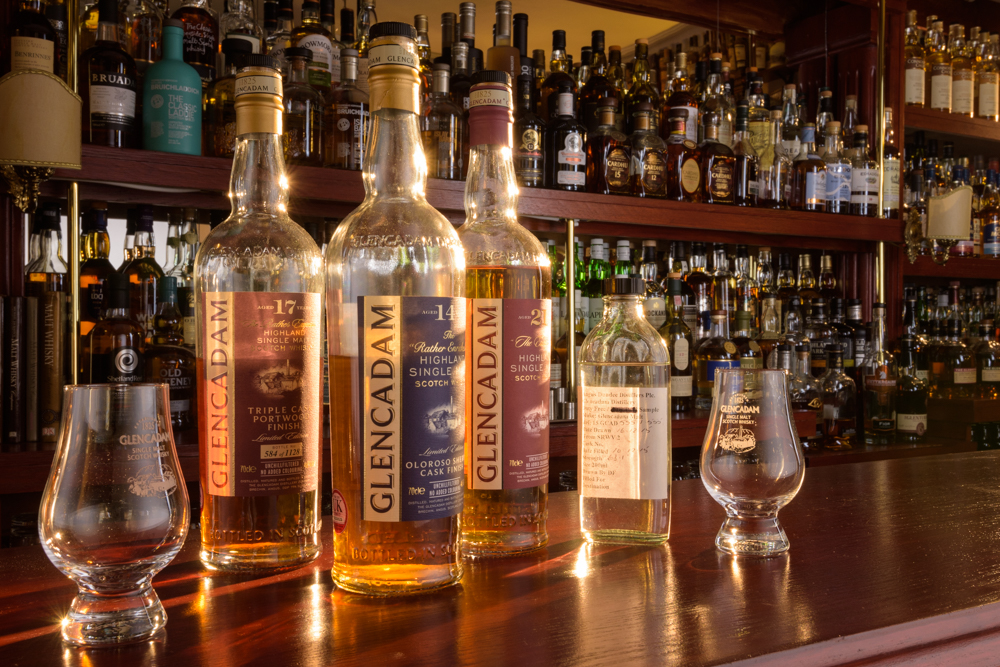 Selection of whiskies in the Glen Esk Hotel, Edzell's 360 ° Bar