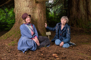 Anna Moray Parker and Jean Ann Scott Miller with David McCabe's Spruce, Abercairny, Crieff, Scotland