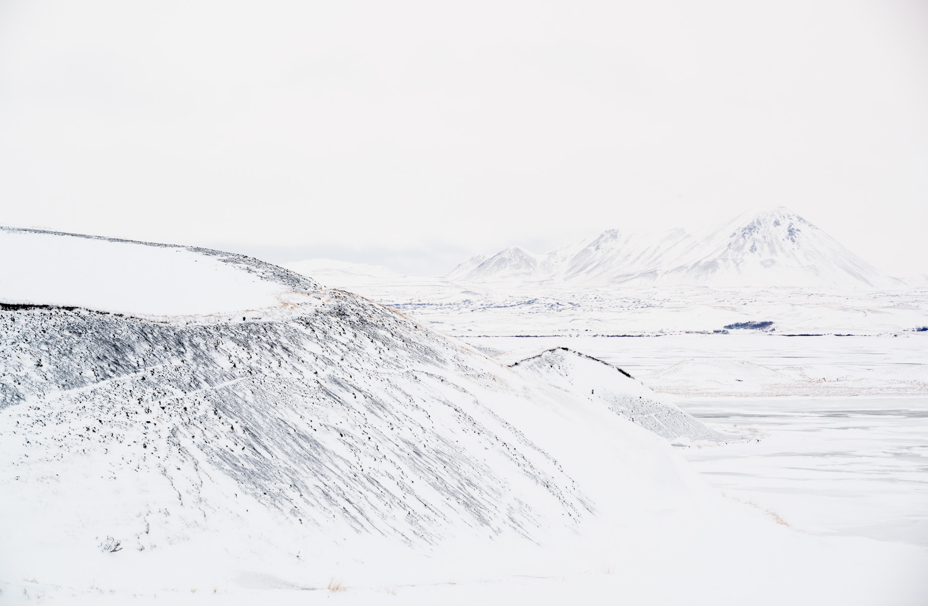Lake Myvatn, Iceland, in winter, with craters and pseudocraters,