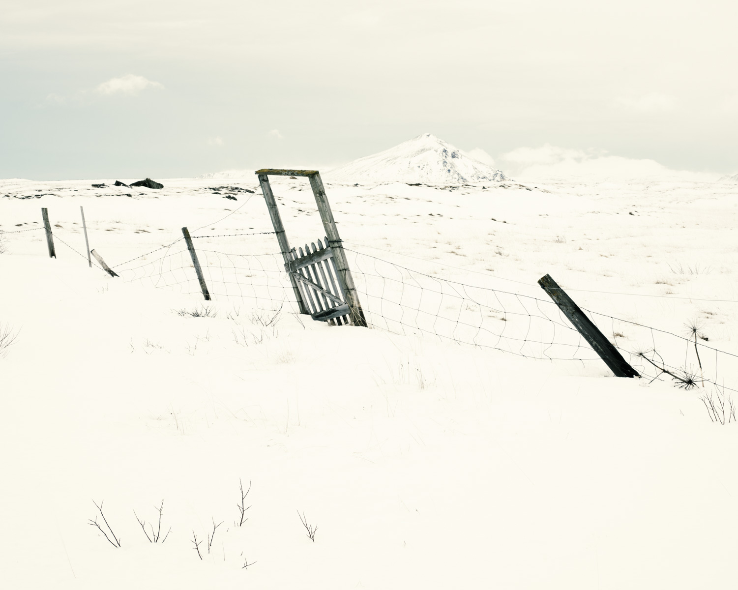 Tumbledown fencing near Laxa River, North Iceland